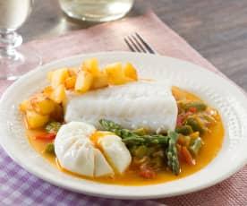 Bacalao con fritada de espárragos, huevos y patatas