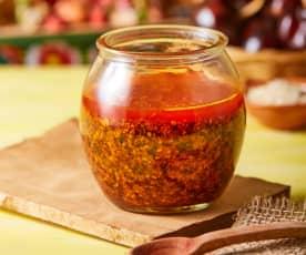 Salsa de ajonjolí y chiles secos