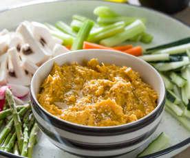 Hummus de batata asada con crudités