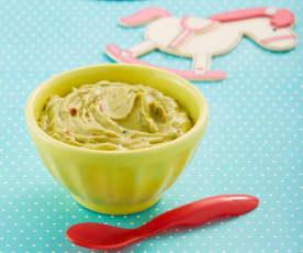 Papilla de aguacate, jitomate y cilantro