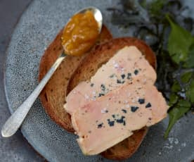 Menu bluffant - Foie gras truffé à la vapeur et chutney de mangue épicé