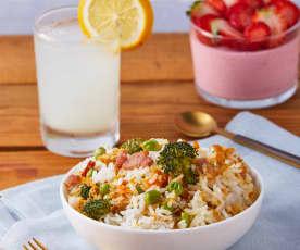 Limoncello, arroz con pollo y pannacotta de fresa