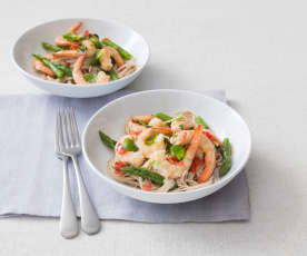 Chilli lime prawns with soba noodles
