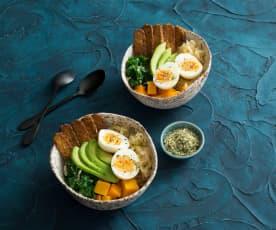 Pumpkin, kale and tempeh breakfast bowl