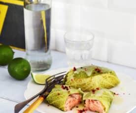 Saumon au chou, beurre au citron vert