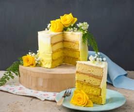 Lemon and elderflower ombre cake