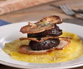 Mousse de chocolate al aceite de oliva y carpaccio de piña