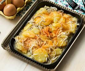 Huevos rotos con patatas y gulas