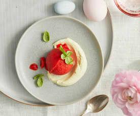 Sorbet aux fraises sur mousse de basilic