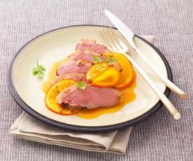 Magret de pato en papillote con salsa de naranja (Magret de canard en papillote, sauce à l'orange)