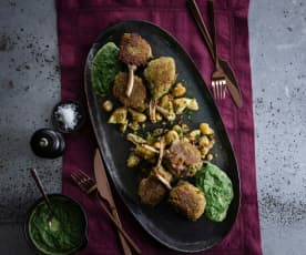 Parmesan-crusted lamb cutlets, creamed spinach and smashed spuds