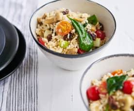 Salada fresca de arroz integral