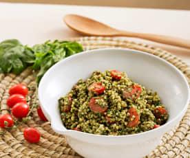 Sarraceno con tomates cherry y albahaca (sin gluten)