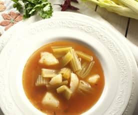 Sopa de apio con patata