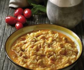 Sopa de arroz y garbanzos