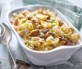 Gratinado de pasta y frutos de mar con bechamel (sin lactosa)