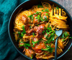 Capellini aux merguez et tomates séchées