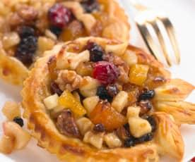 Tartelette fine aux pommes et mendiants