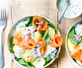 Salade de pommes de terre, saumon et aneth