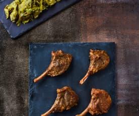 Lammkoteletts sous-vide mit Artischocken