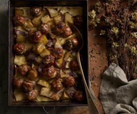 Almôndegas de porco com batata-doce no forno