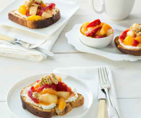 Mixed fruit compote with goat's cheese and granola on toast