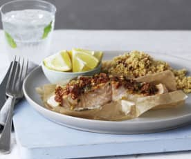 Salmon and Couscous Parcels with Sun-dried Tomatoes