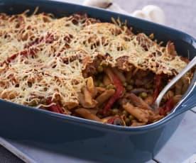 Pasta integral con champiñones, guisantes y pimientos del piquillo