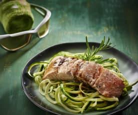 Balsamico-Lachs und Zucchetti-Nudeln