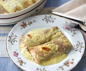 Crêpes di grano saraceno al salmone con fonduta di porri (senza glutine)