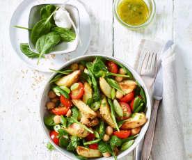 Kartoffelsalat mit Kichererbsen und Spinat