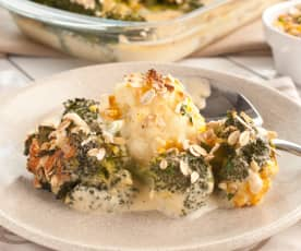 Broccoli and Oat Crumble with Vegan Cheese