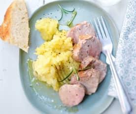 Ecrasée de pommes de terre et filet mignon au romarin