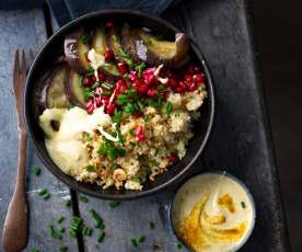 Salade de boulgour, aubergines et grenade