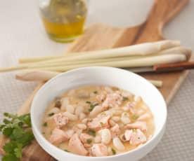 Blanqueta de salmón con judías blancas al aroma de lemon grass