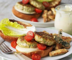 Lemon and herb salmon burgers with zucchini fries