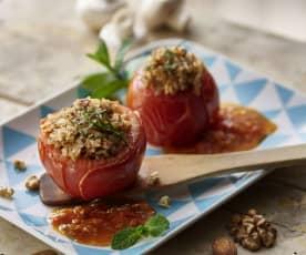 Tomates rellenos con champiñones y frutos secos