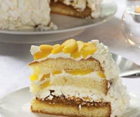 Tarta con merengue y melocotón (Postre chajá)