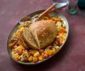 Hackbraten mit Kürbiskernen und Kartoffel-Möhren-Gemüse