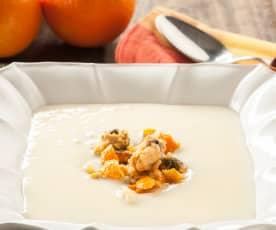 Crema parmentier al ajo con mejillones a la naranja