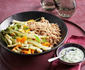Dinkel mit Gemüse aus dem Varoma