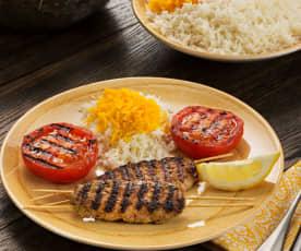 Arroz con azafrán y brocheta kebab (Chelow kabab) - Irán