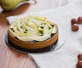 Torta alle nocciole con caramello salato e pere di Damiano Carrara