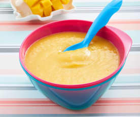 Papilla de durazno, mango y plátano