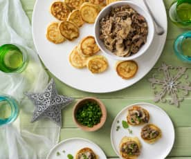 Mini chive pikelets with mushrooms