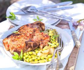 Côte de veau vapeur aux légumes du jardin