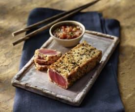 Sashimi vom Thunfisch mit Limetten-Sesam-Vinaigrette