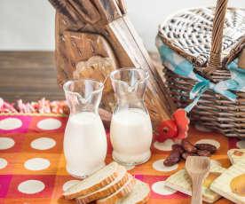Yogur líquido de naranja, miel y avena