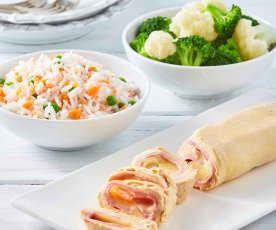 Todo en uno: Arroz blanco y rollitos de pollo con verduras