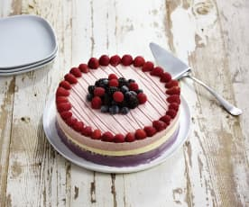 Red, White and Blueberry Ice Cream Cake